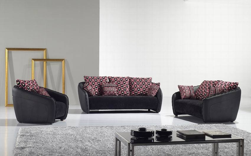 living room couch on Luxury Living Room With Black  Sofas With Colorful Pillows
