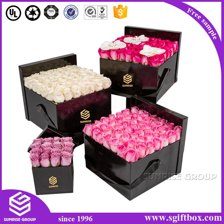 Cardboard Paper Packaging Rectangle Flower Box with Heart Shape Window