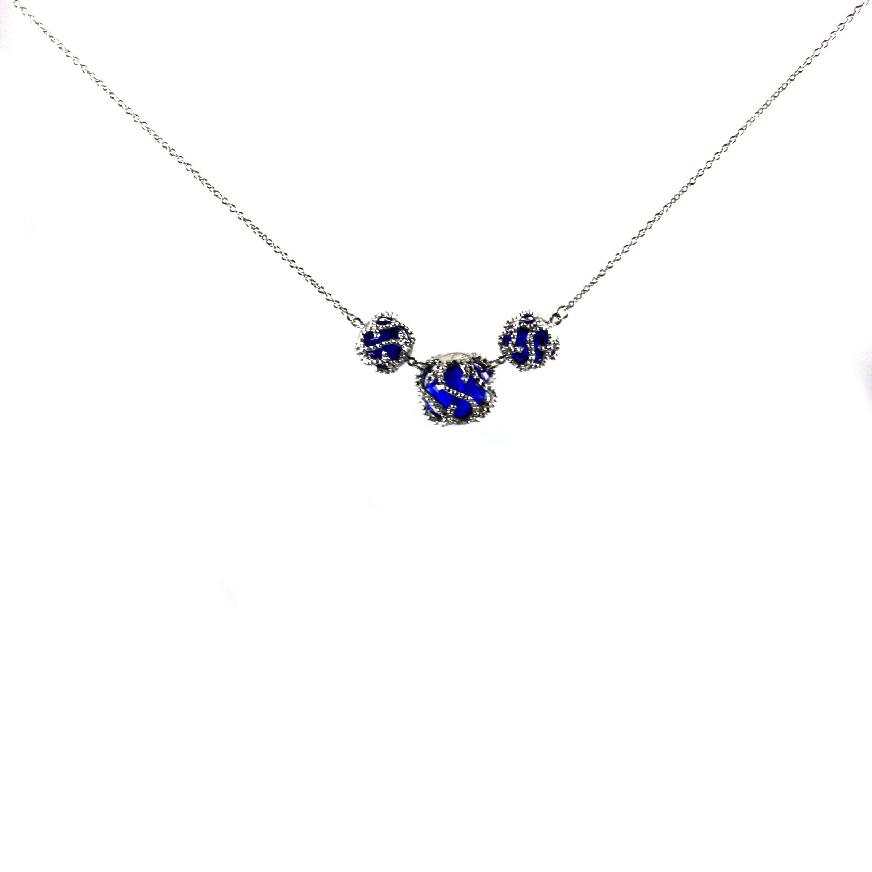 Vintage Engagement Wedding Blue Sapphire Pendant Necklace