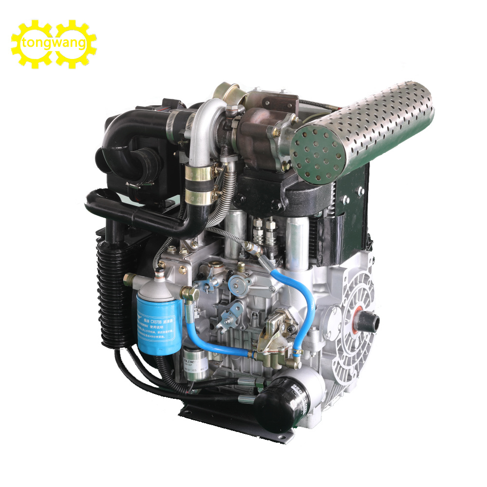 Air-Cooled Supercharged Dual 2 Cylinder Diesel Engine with High Speed for Water Pump Genset Generator 18/21kw 3000/3600rpm