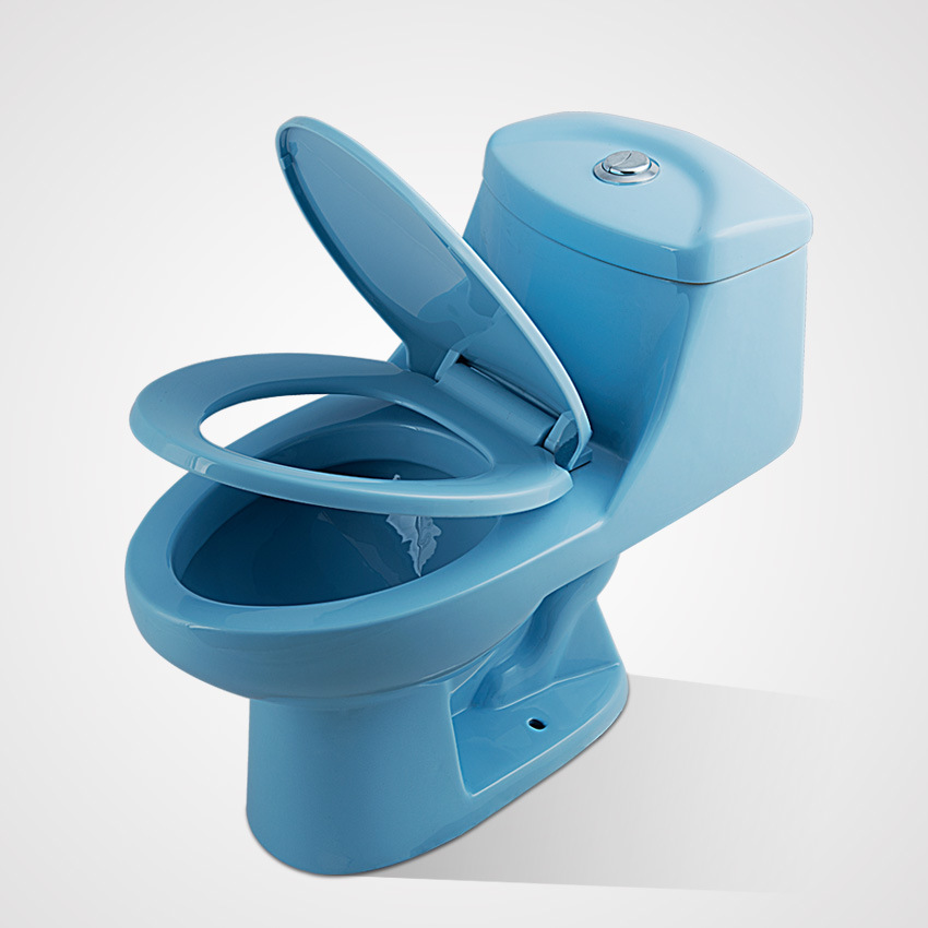 Ceramic Custom Size Soft Close Blue One Piece Wc Toilet