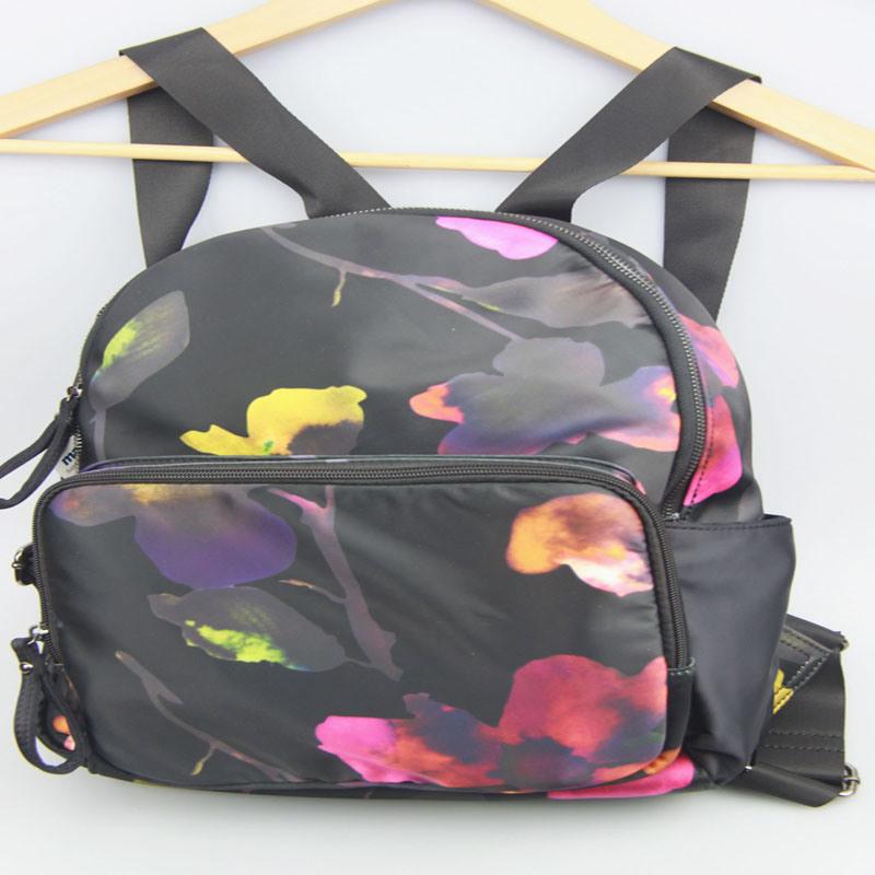 Lady Fashion Flower Printed Backpack Nylon Backpack Bag Supplier