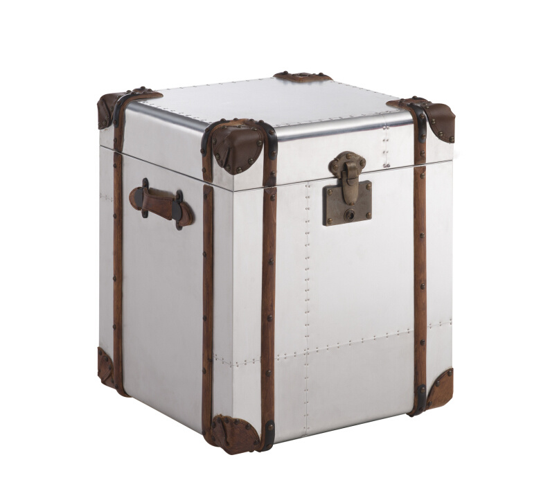Vintage Trunk Cabinet, Antique Aluminum Side Table, Corner Table