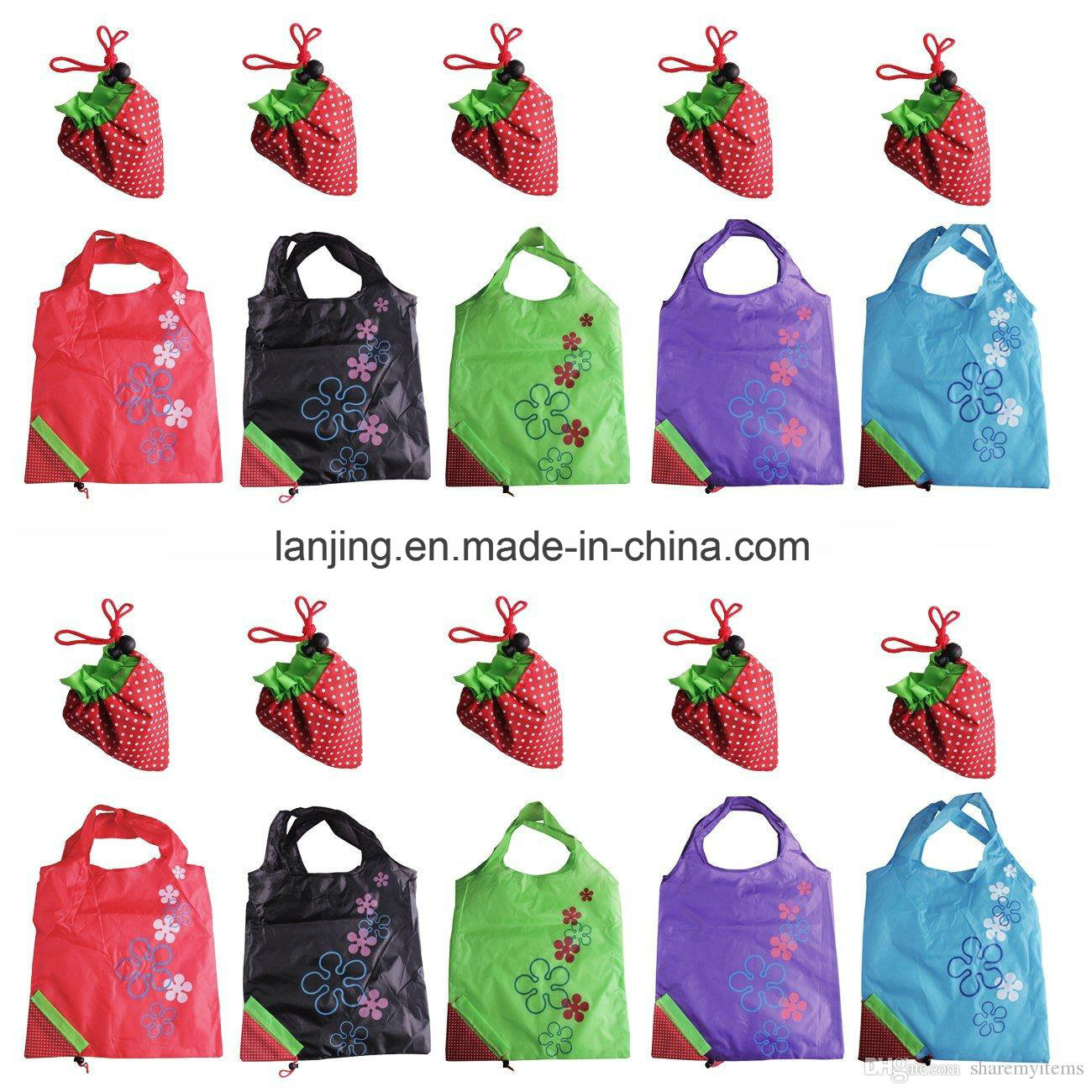 Bw1-080 Nylon/Polyester Reusable Strawberry Foldable Bag Gift Shopping Bags