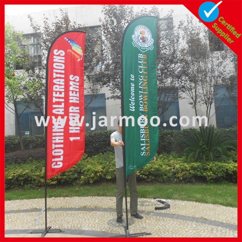 Custom Promotion Advertising Printing Teardrop Feather Flying Beach Flag