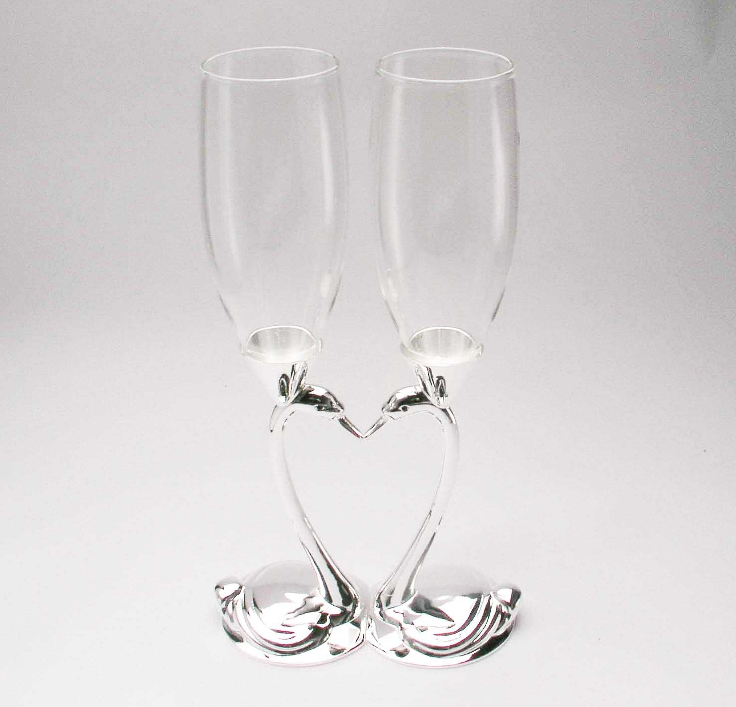 Unique Wedding Gift Silver Plated Swan Champange Toasting Flutes