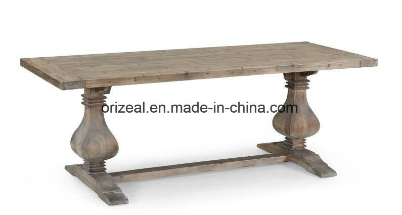 Big Size Roman Column Leg Dining Table
