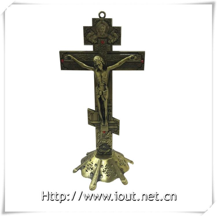 Antique Red Copper / Purple Bronze Church Decoration Metal Catholic Standing Crucifix, Handing Religious Cross (IO-ca094)
