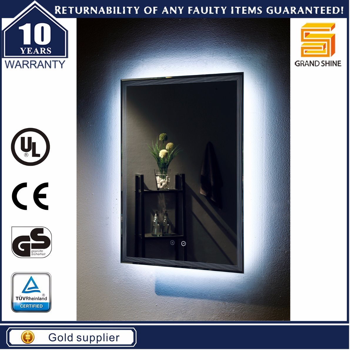 Hotel Project Bathroom Mirror with 3000/6000k LED Light and Demister Pad