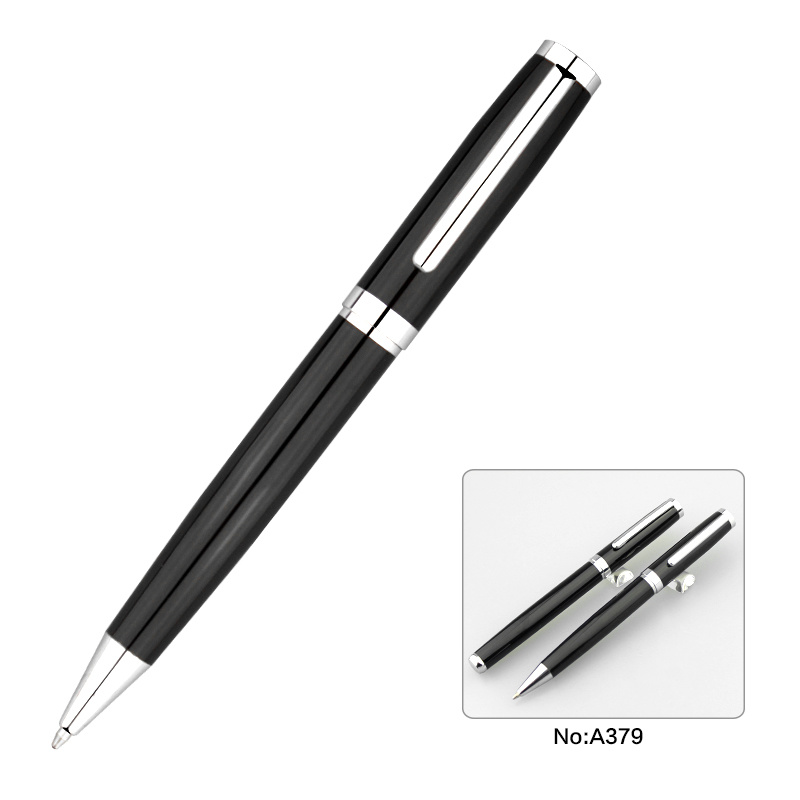 Black Color Fashion Metal Ball Pen Roller Pen Set for Business