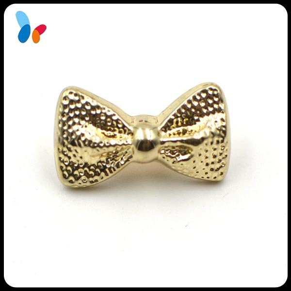 Gold Bow Shape Plastic Shank Button for Children