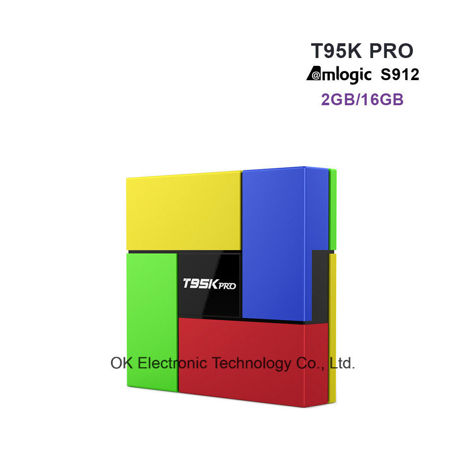 T95k PRO 2GB 16GB Android 6.0 Smart TV Box Octa Core Amlogic S912 Kodi Dual Band WiFi Bt4.0 4k Media Player