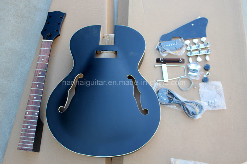 Hanhai Music / Semi-Finished Black Electric Guitar Kit / DIY Guitar (ES-335)