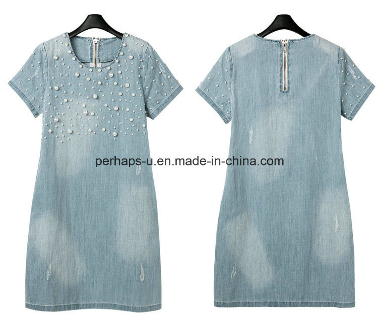 High Quality Bead Maternity Wear Printing Women Clothes Jeans Dress
