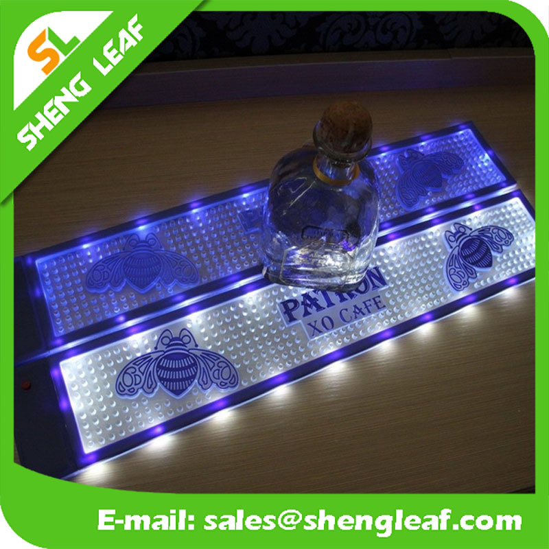LED OEM Logo Soft PVC Rubber Vinyl Branded Bar Mats