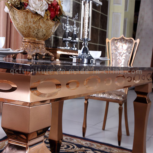 Gold Modern Dining Table with Marble Top