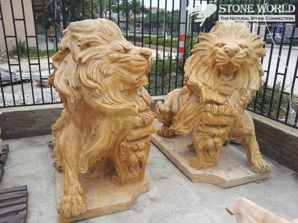 Lion Sculpture Hand Carving Yellow Marble for Home Decoration (SC-003)