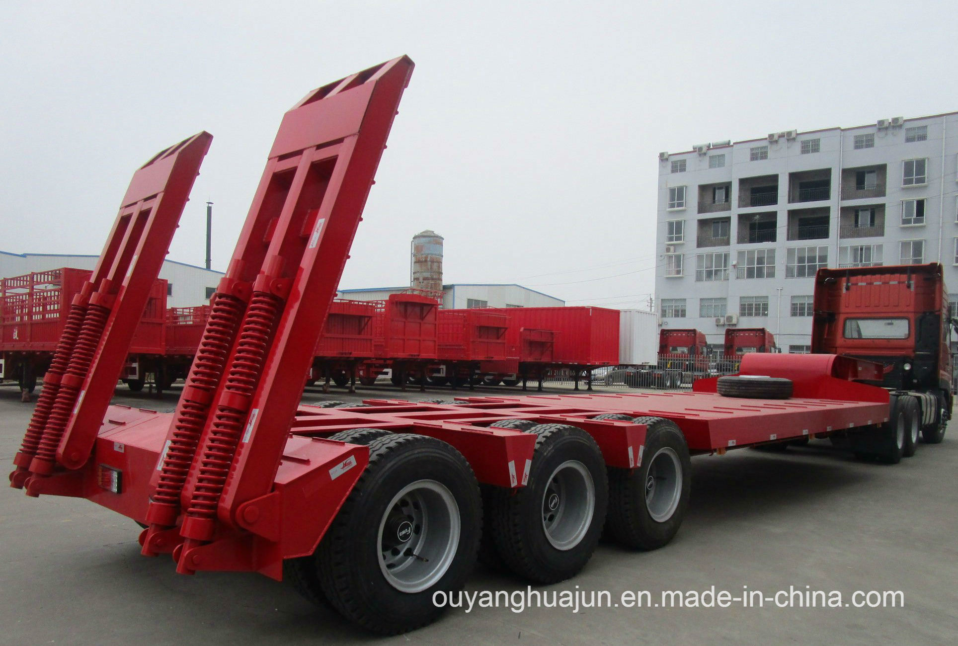 3 Axles Gooseneck Excavator Carrier Vehicle Semitrailer