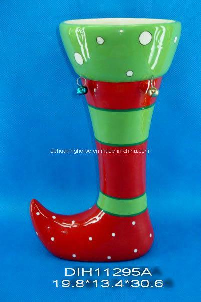 Hand-Painted Santa′s Boot Ceramic Flower Vase