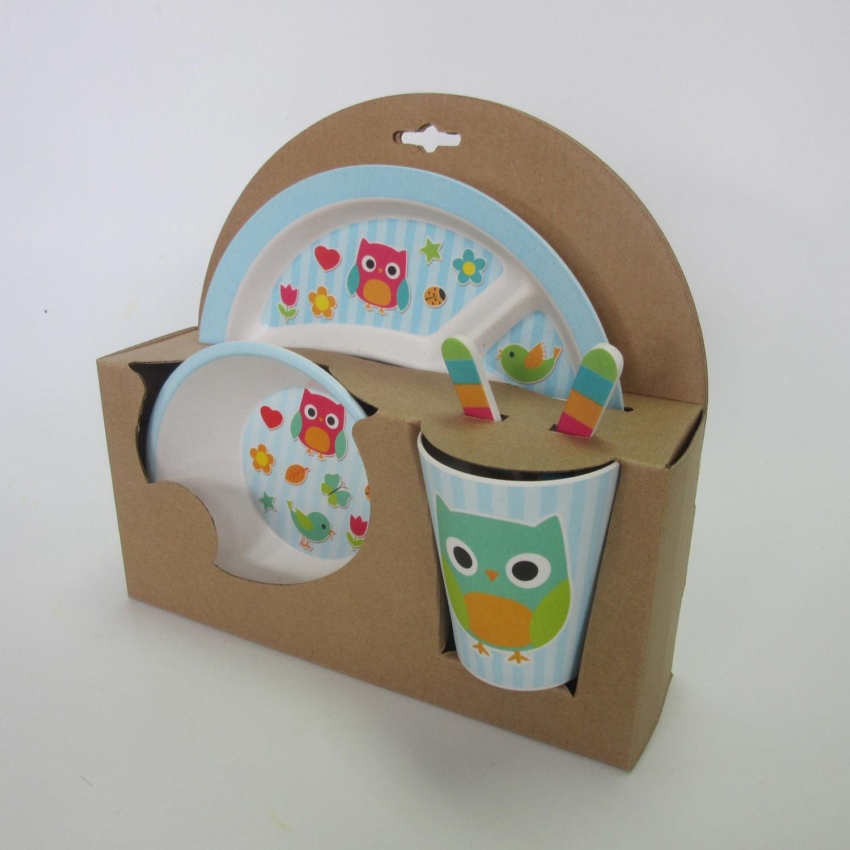 Bamboo Fiber Kids Set with Cartoon Colorful Design