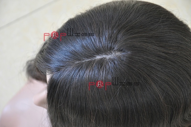 Human Hair Toupee, Clip in Jewish Kosher Silk Top Topper Hair Piece