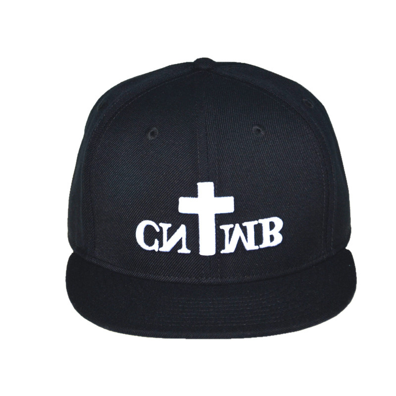 Custom Caps and Hats Black 6 Panels Cotton Cap Snapback