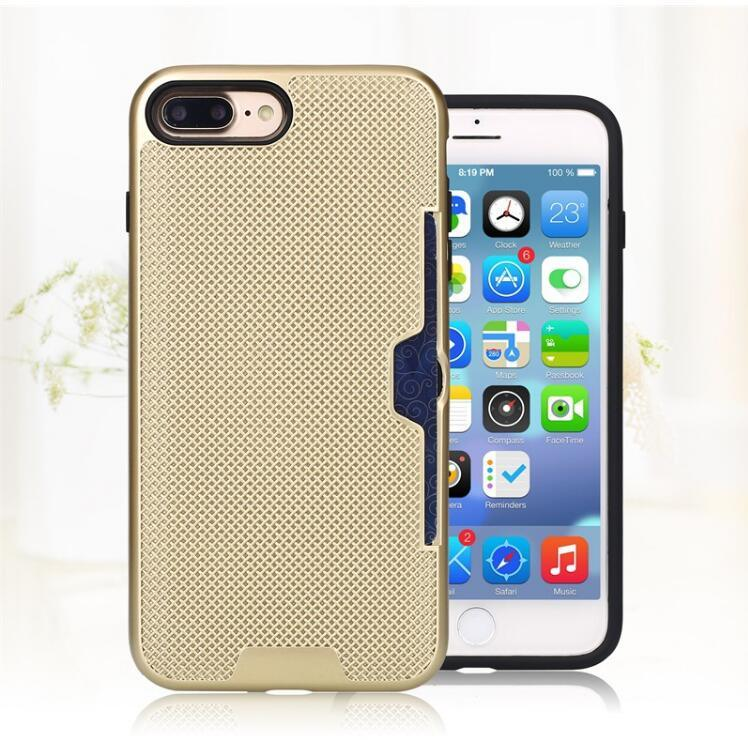 for Apple iPhone 7plus 6plus Cell Phone Case with Slid Card Holder Mobile Back Cover Shell (XSEH-040)