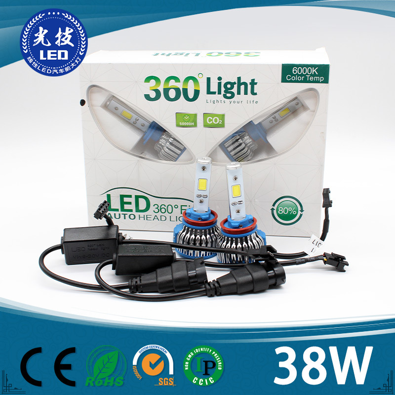 Super Bright 4500lm COB H1, H3, H4, H7, H11, 9005, 9006, 9012, D1s, D2s, D3s, D4s Car LED Headlight