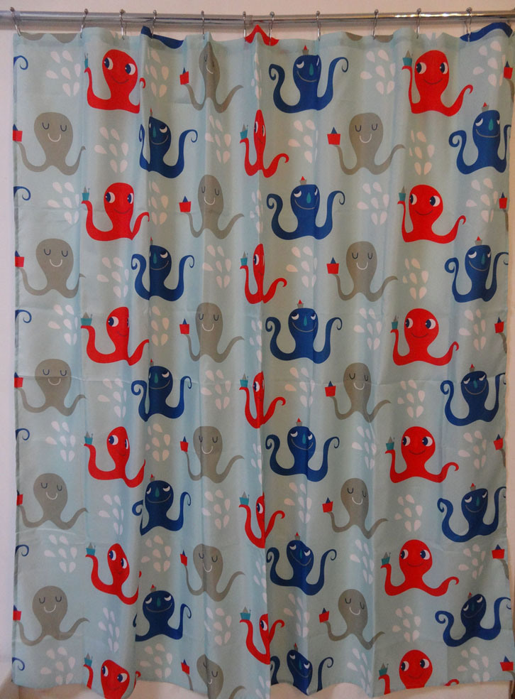 Octopus Eco-Friendly Water Resistent Polyester Fabric Shower Curtain