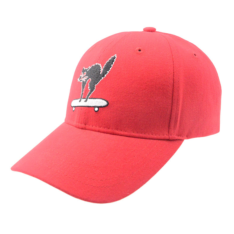 Wholesale Red 6 Panels Embroidery Cotton Baseball Cap