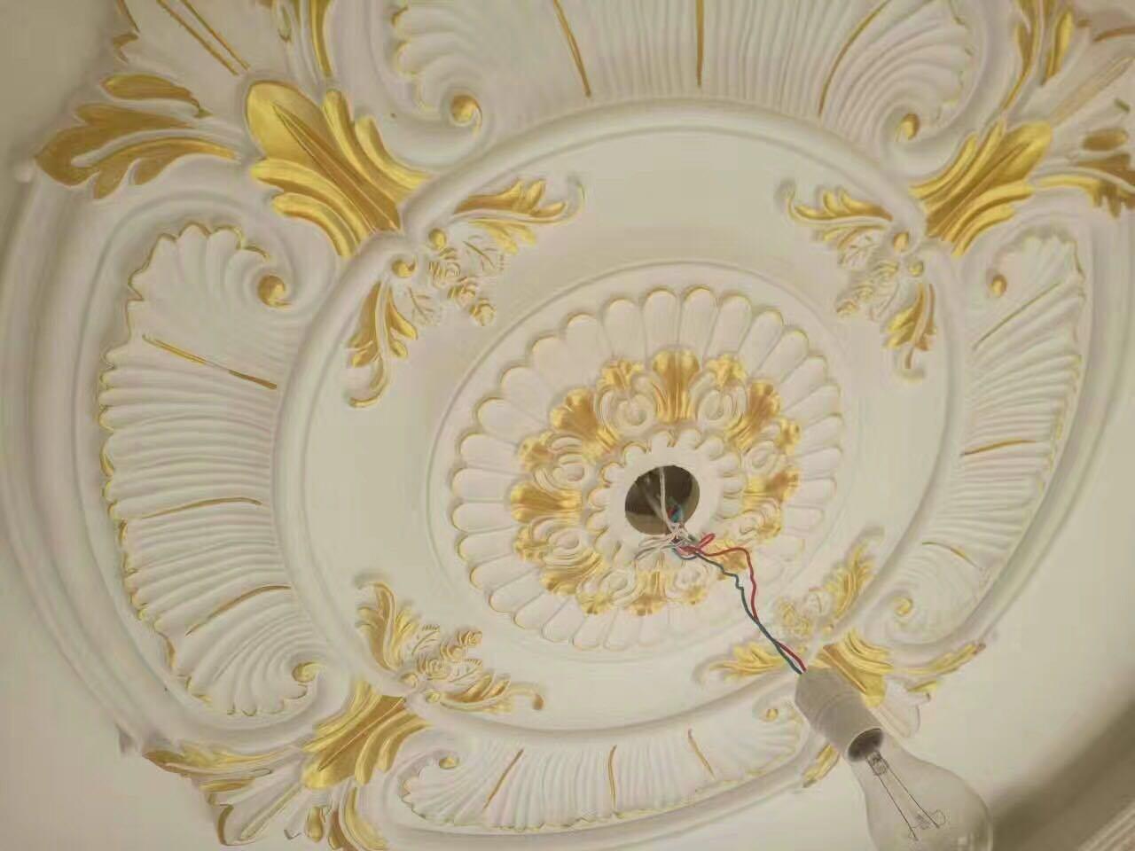 Golden PU (polyurethane) Foam Material PU Medallion for Ceiling Decoration