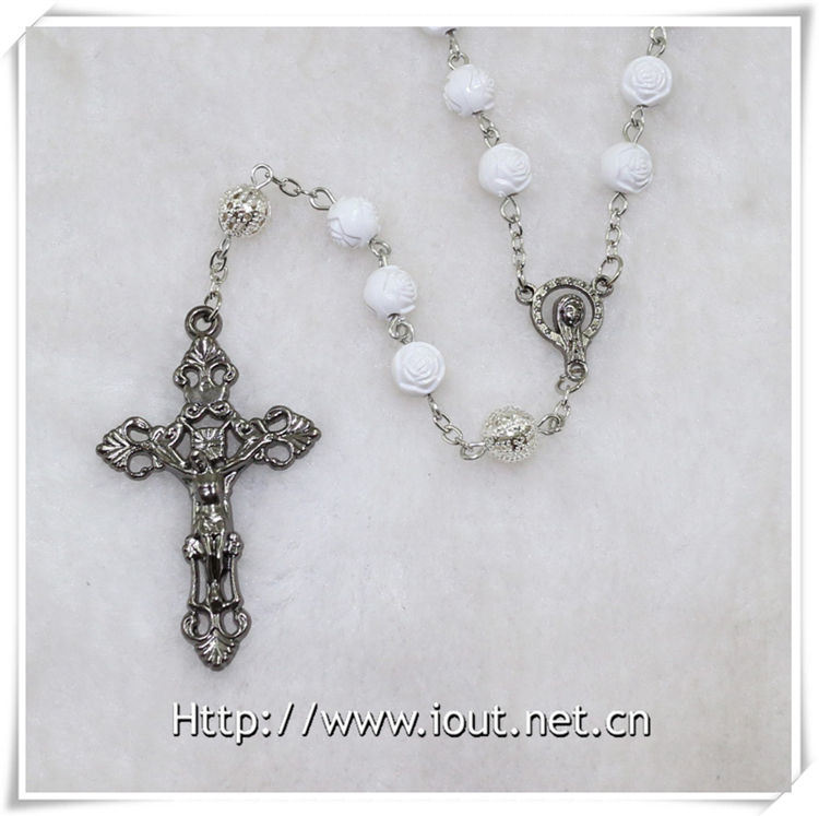 Wholesale Latest Design Men′s Religious Plastic Bead Rosary Necklace (IO-cr351)