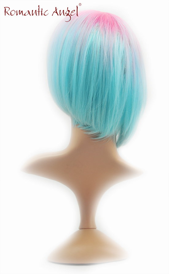 Dyecolor Synthetic Pink and Blue Fushion Short High Quality Kanekalon Wig