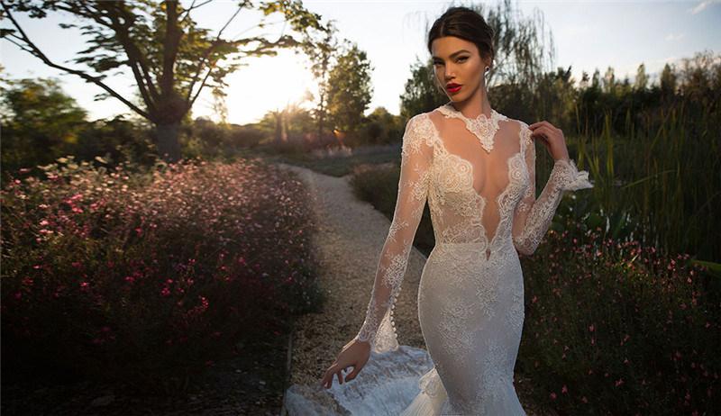 2017 Stunning Long Sleeves Mermaid Lace Wedding Dress (Dream-100004)