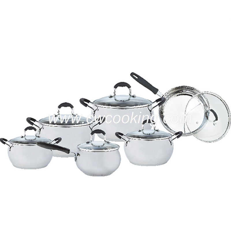 12PCS Stainless Steel Cookware Set - Apple Shape Glass Lid
