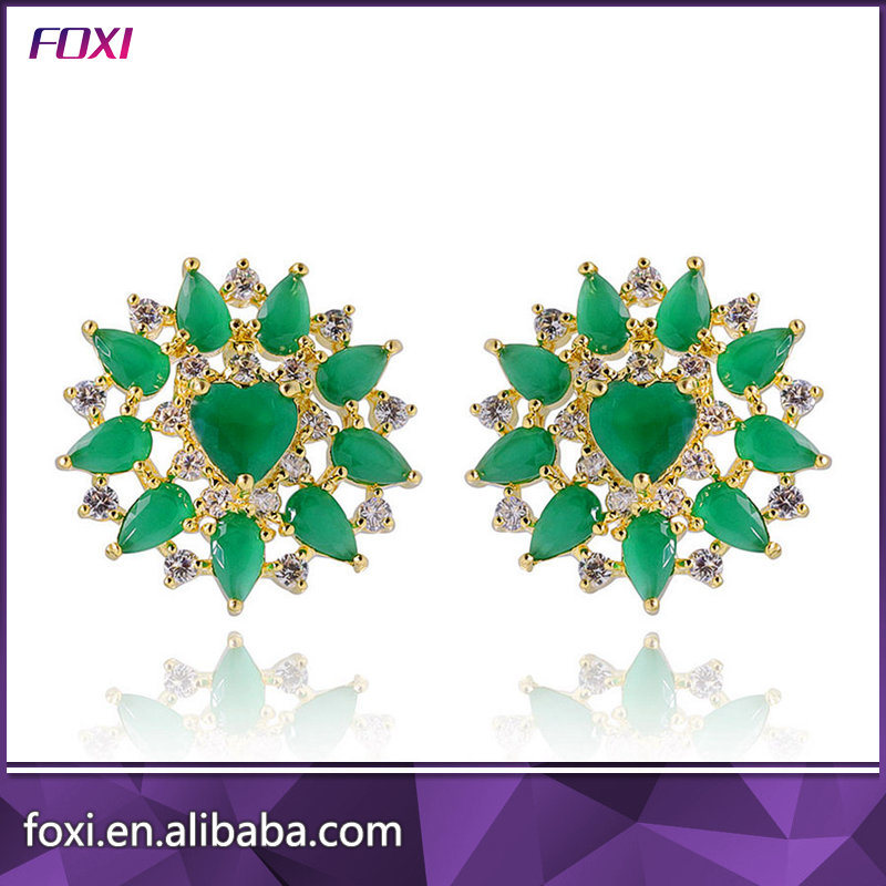 New Design Green Cubic Zirconia Stud Brazilian Gold Earrings