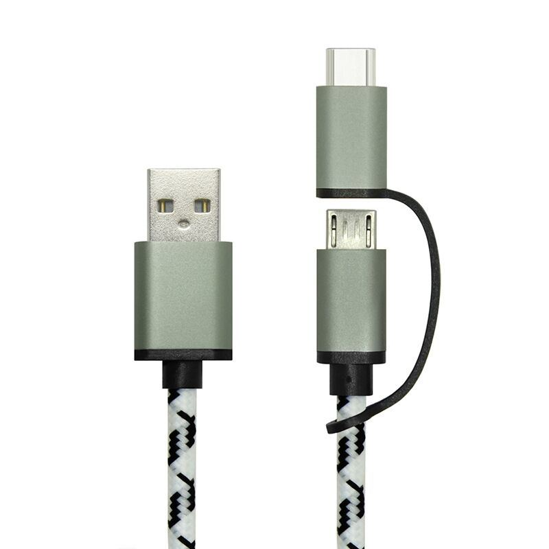 2 in 1 USB2.0 a Male to Micro B 5pin and USB Type C Cable