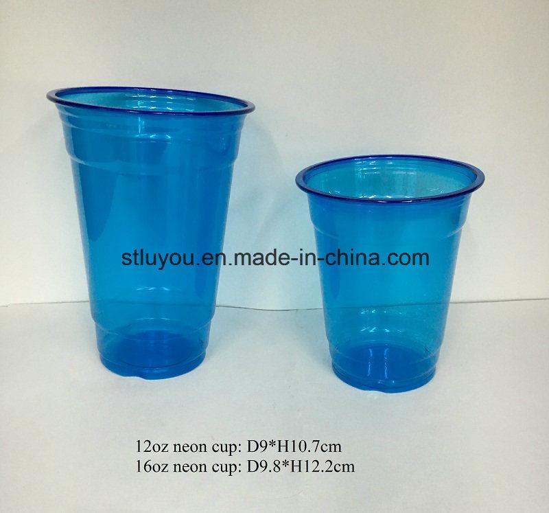 Disposable Pet Neon Color Plastic Party Cup