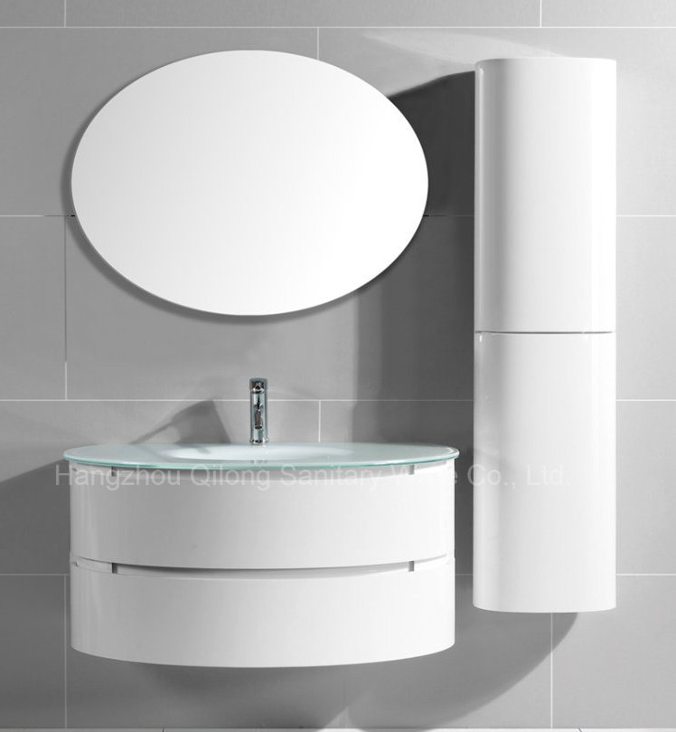 Semi-Circle Painting PVC Bathroom Vanity with Cruved Side Cabinet