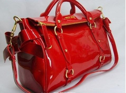 Patent Leather Designer Handbag Red