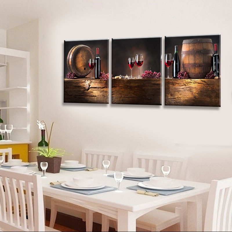 3 Piece Modern Wall Art Printed Painting Red Wine Painting Room Decor Framed Art Picture Painted on Canvas Home Decoration Mc-247
