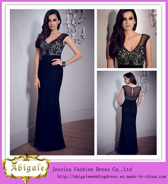 New Elegant Chiffon Lace and Appliques V Neck Beaded Floor Length Evening Dress 2014 (WJ0005)