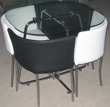 Tempered Glass And Metal Dining Table And Chairs YM 32 China Dining Set