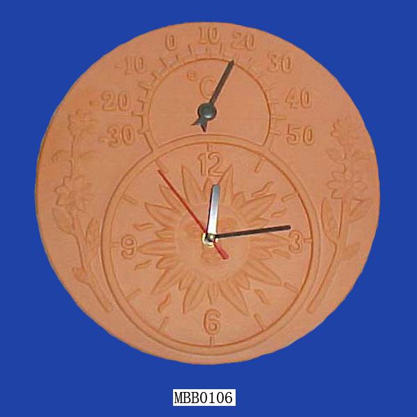 China Terracotta Clock And Thermometer China Terracotta