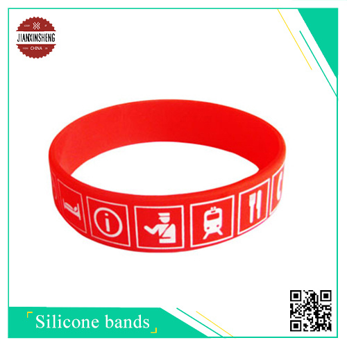 1color Silk-Screen Printing Silicone Bracelets