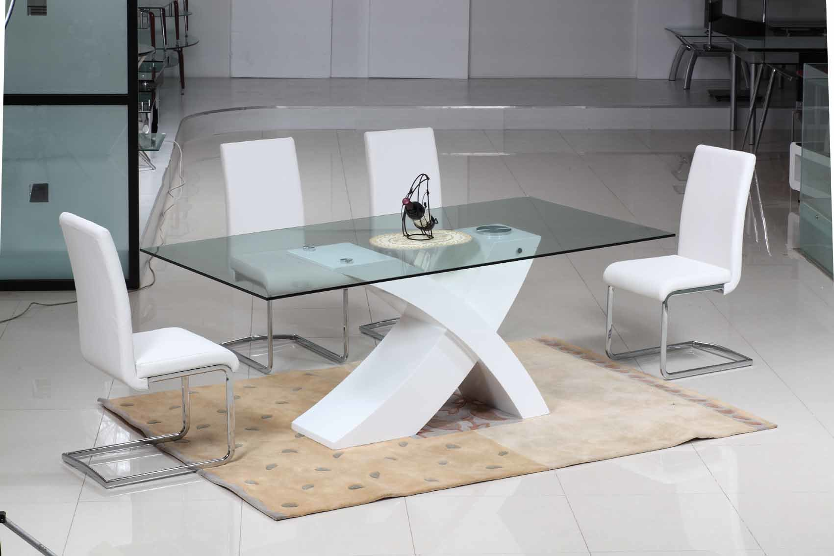 China New Design Dining Table Sets D202 C221 China Furniture White High