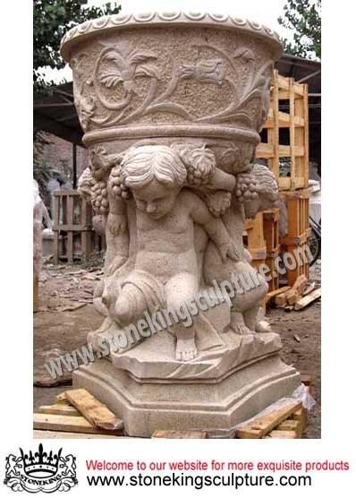 Stone Flowerpot & Vase, Garden Flowerpot & Vase, Marble Carving (SK-2514)