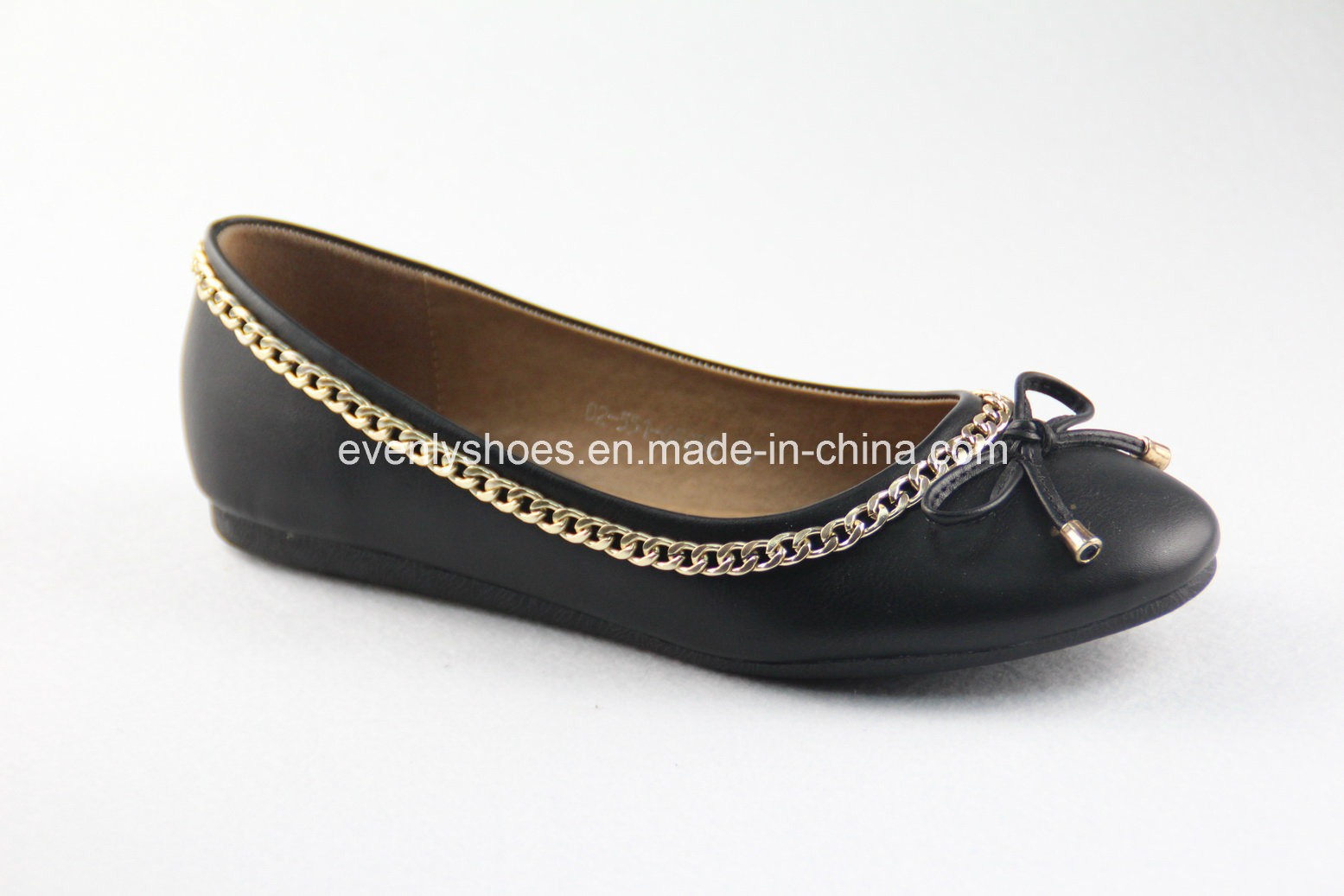 Lady′s Ballet Flats with Bowknot and Metal Chain Decoration