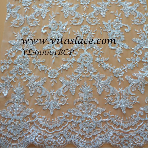 China Wholesale White Rayon Polyester Beaded Bridal Lace Fabric