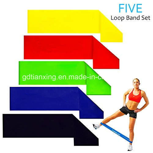 5 Sets Loop Resistance Bands of 5 Levels for Men and Women Home Gyms, Yoga, Pilates, Physical